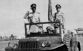 King Zahir Shah in his reconnaissance vehicle.