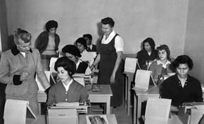 An English typing class at the Women's Welfare Society sponsored by the Asia Foundation.