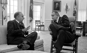 President Lyndon B. Johnson and Prime Minister Maiwandwal in the Oval Office.