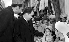 Vice President Richard Nixon greets Afghan children.