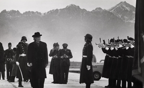 President Dwight D. Eisenhower inspects the honor guard upon arrival at Bagram Airport.