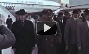 President Dwight D. Eisenhower meets King Zahir Shah at Bagram Airport.
