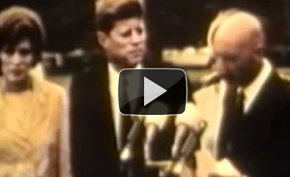 President John F. Kennedy and King Zahir Shah make remarks on the White House Lawn.