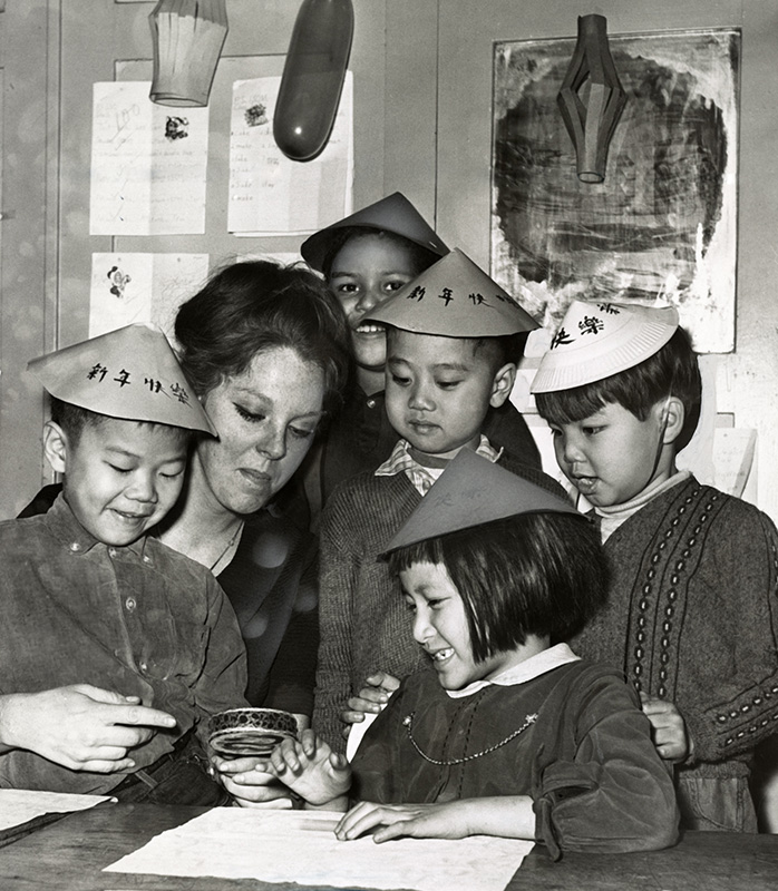 a classroom celebrates lunar new year 1966 new york new york photograph by fred palumbo courtesy of the library of congress prints and photographs - Chinese New Year 1966