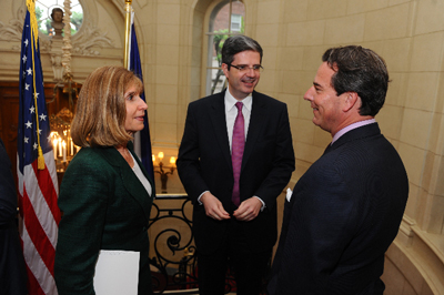 Ambassador of France to the U.S., François Delattre (center), chats with Meridian's President & CEO, Ambassador Stuart Holliday (right), and Amb. Paula J. Dobriansky, Senior Fellow, Belfer Center for Science and International Affairs, John F. Kennedy School of Government, Harvard University (left)