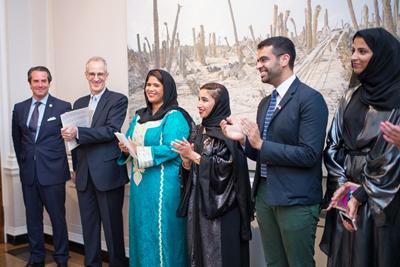 Ambassador Stuart Holliday, Dr. Curtis Sandberg, Artists Noor Al Suwaidi, Zeinab Al Hashemi, Khalid Mezaina and Maitha Al Mehairbi. Photo by Nick Khazal.