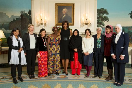 First Lady Michelle Obama greets recipients of the Secretary of State's International Women of Courage Award on March 7, 2015. From left: Nadia Sharmeen, Bangladesh; Arbana Xharra, Kosovo; May Sabe Phyu, Burma; Marie Claire Tchecola, Guinea; Tabassum Adnan, Pakistan; Sayaka Osakabe, Japan; Rosa Julieta Montano Salvatierra, Bolivia; Captain Niloofar Rahmani; Afghanistan; Majd Chourbaji, Syria. (Official White House Photo by Chuck Kennedy)