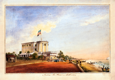 Signed Just Gants [?] Madras Ice House – South View, 1858 Watercolor Courtesy of the Engravings Collection, Baker Library, Harvard Business School