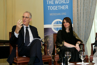 Moderator, Dr. Curtis Sandberg, with Dana Al Marashi, Head of Heritage and Social Affairs Department at the UAE Embassy.