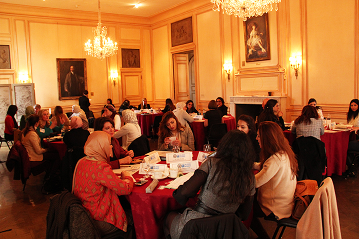 The group discussed shared challenges in the stately Meridian House Dining Room.
