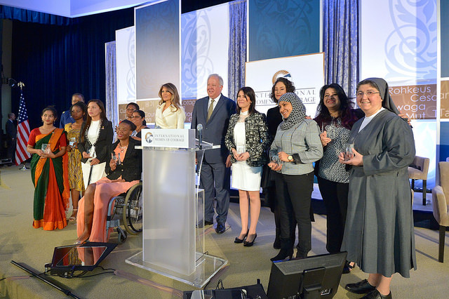 First Lady Melania Trump and Under Secretary Shannon pose for a photo with the 2017 International Women of Courage Awardees