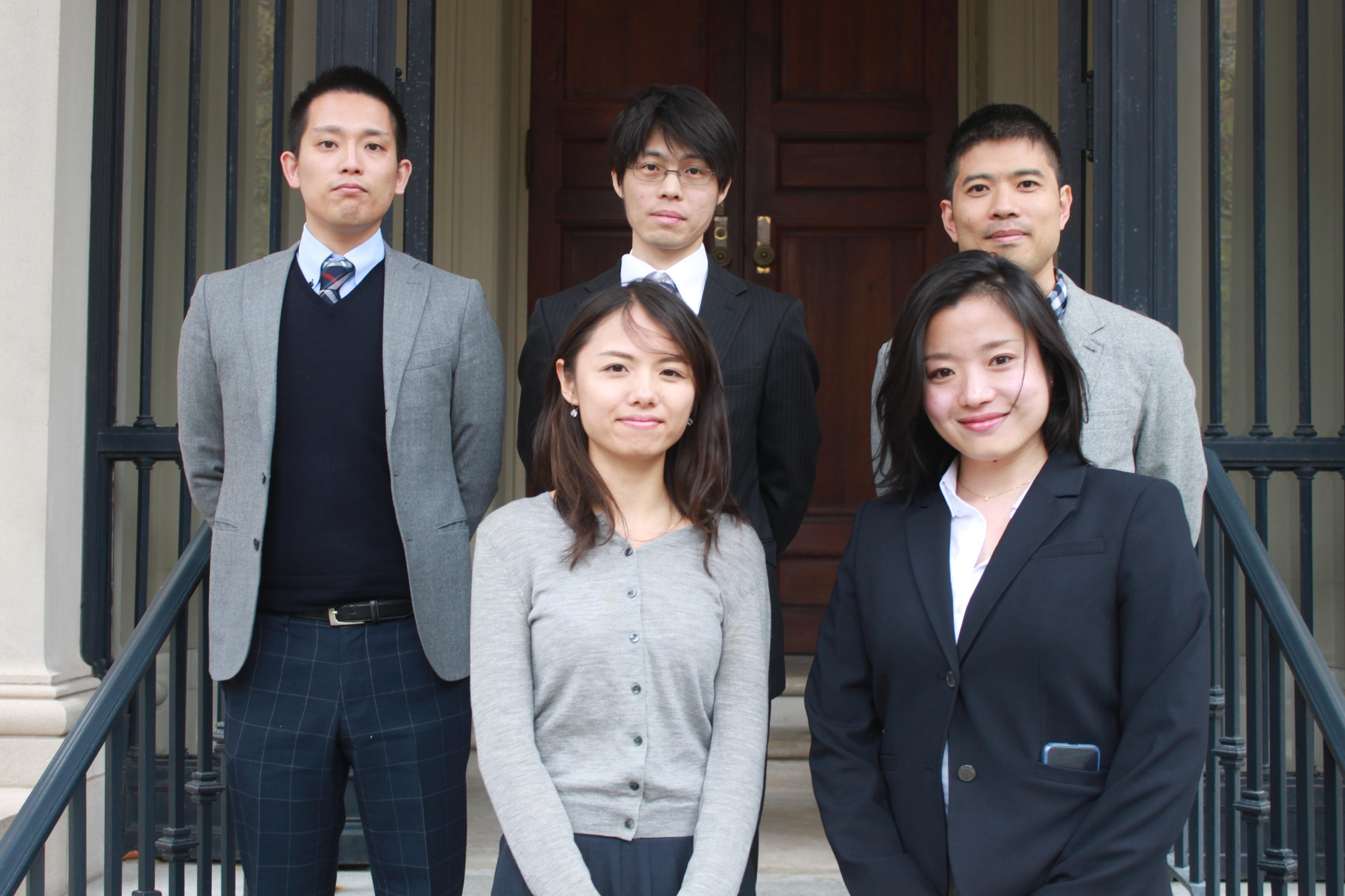 G3P Japanese Fellows preparing for their program following an opening at Meridian International Center (from left to right) (Top): Nao Takada, Hideaki Kikuchi, and Toshiyuki Igarashi; (Botton) Reiko Yui and Akane Nakajima