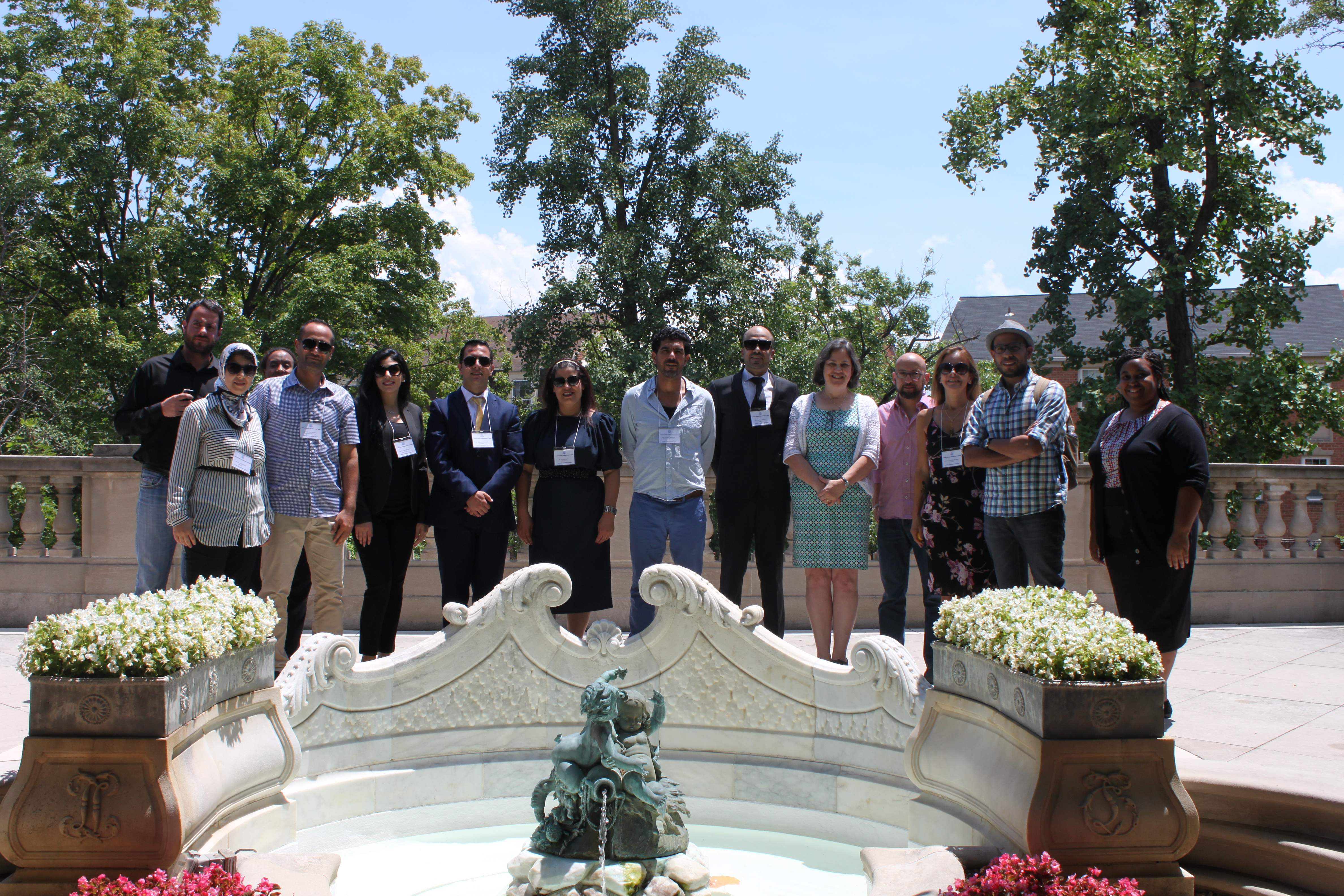 Voices of Reason IVLP participants take a group photo at Meridian International Center in Washington, DC