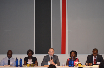 Meridian's Senior Vice President of External Affairs, Gregory D. Houston (Center) moderates a panel discussion on YALI Stories of Success