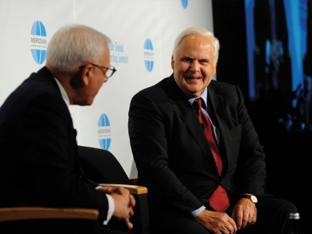 The Carlyle Group Founder David Rubenstein interviews FedEx CEO Fred Smith at the 2012 Meridian Global Leadership Summit.