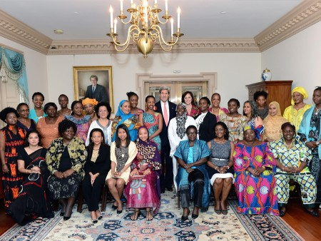 U.S. Secretary of State John Kerry meets with participants from the African Women's Entrepreneurship Program.