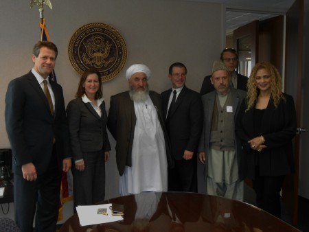 Members of Afghanistan's High Peace Council, Malawi Ghulam and Fazel Karim, meet with U.S. Attorney for the Eastern District of Michigan Barbara L. McQuade and her staff.
