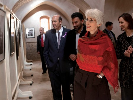 U.S. Under Secretary of State for Political Affairs Wendy Sherman views the exhibition In Small Things Remembered: The Early Years of U.S.-Afghan Relations.