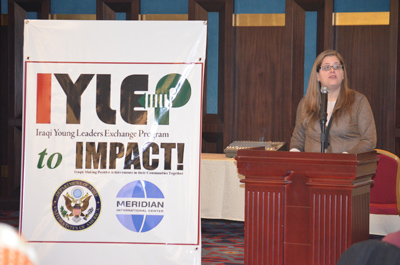 Gretchen Ehle, Meridian's Vice President, GlobalConnect, addresses the IYLEP participants at the reunion conference in Baghdad.