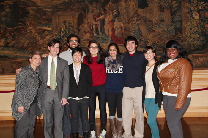 Rice University students, in Washington, DC for an alternative Spring Break trip, are joined by Meridian staff to pose after attending the panel discussion.