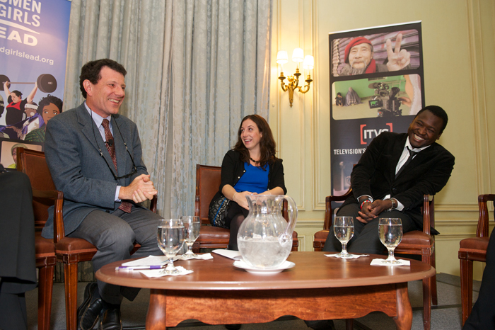 Nicholas Kristof with Jessica Posner and Kennedy Odede of Shining Hope for Communities.