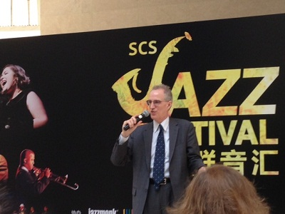 Dr. Curtis Sandberg addresses journalists at the Jam Session Press Event in Shanghai