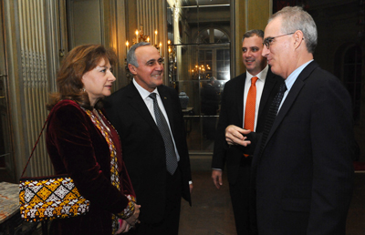 Ambassador Meret Bairamovich Orazov, Ambassador of Turkmenistan to the United States (second from left) and his wife (far left) chat with TK Harvey, Meridian's Director of Exhibitions (second from right) and Dr. Curtis Sandberg, Meridian's Senior Vice President for Arts and Cultural Programs (far right). Photo by Joyce N. Boghosian