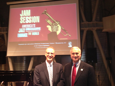 Dr. Curtis Sandberg, Meridian Senior Vice President for the Arts and Cultural Programs and Ambassador Ambassador Francis Ricciardone the second annual UNESCO International Jazz Day festivities in Istanbul