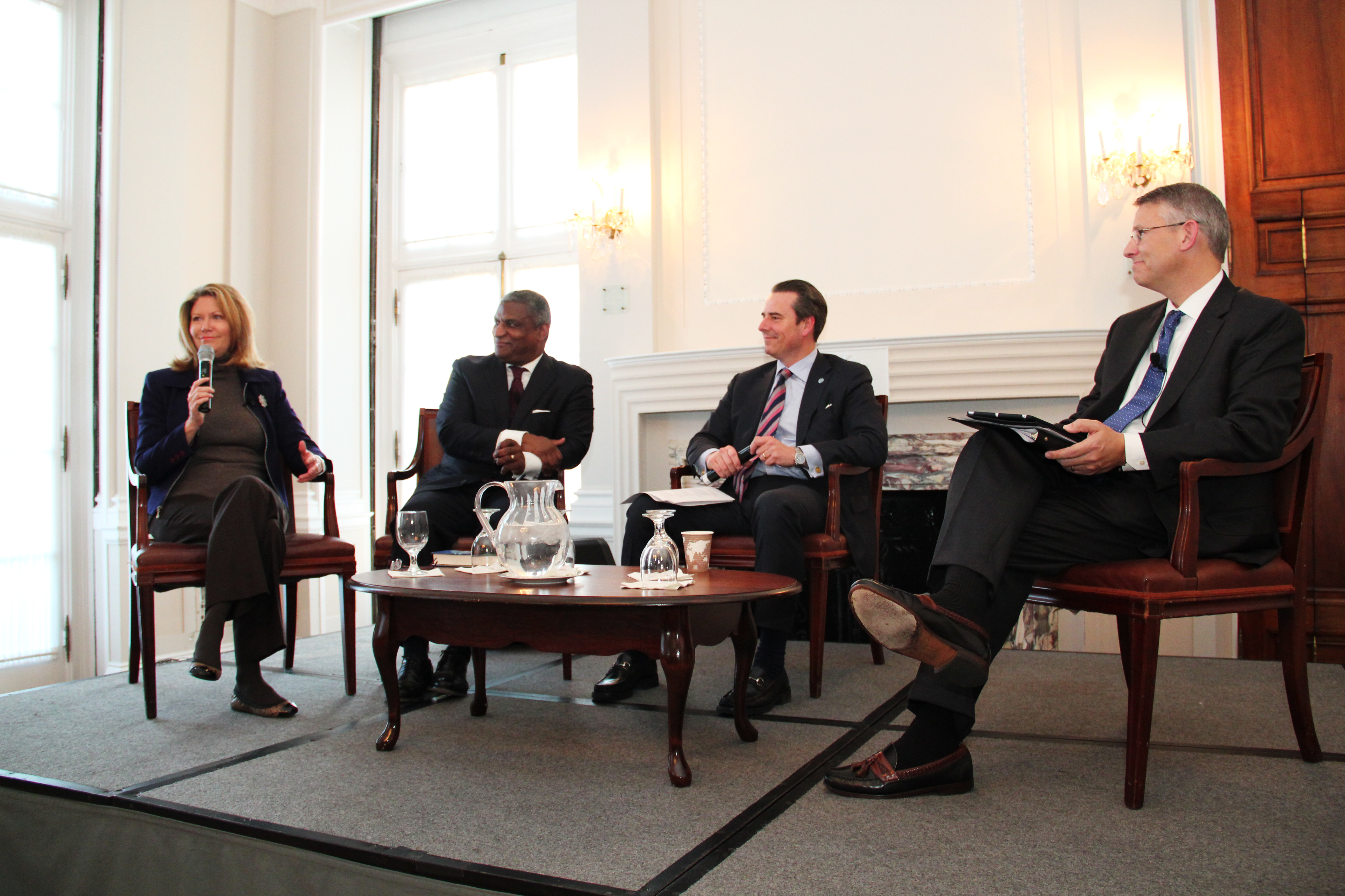 Ambassador Stuart Holliday moderates the Global Commerce, Mobility and Security Panel with Regina Hopper, President & CEO, ITS America; Secretary Rodney E. Slater, Partner, Squire Patton Boggs; and Tracy Rosser, Senior Vice President, Transportation, Walmart.