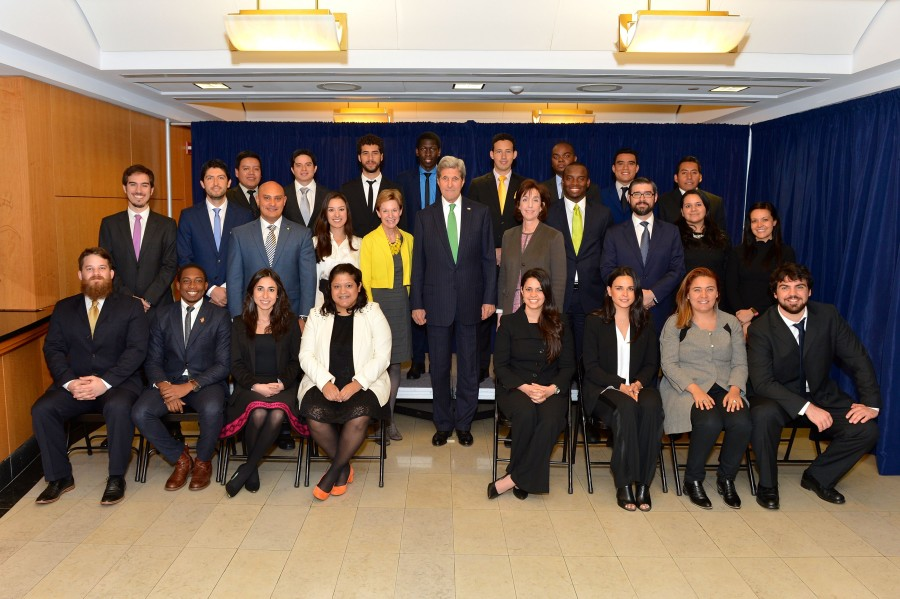 At center, U.S. Secretary of State John Kerry with YLAI Fellows. Right of Secretary Kerry is Assistant Secretary of State for Western Hemisphere Affairs Roberta S. Jacobson. Left of Secretary Kerry is Ambassador Kristie Kenney currently serves as the Counselor of the Department.