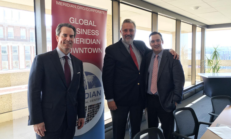 Ambassador Stuart Holliday, Ambassador Schuwer and Scott Parven at Global Business Breakfast @ Meridian Downtown