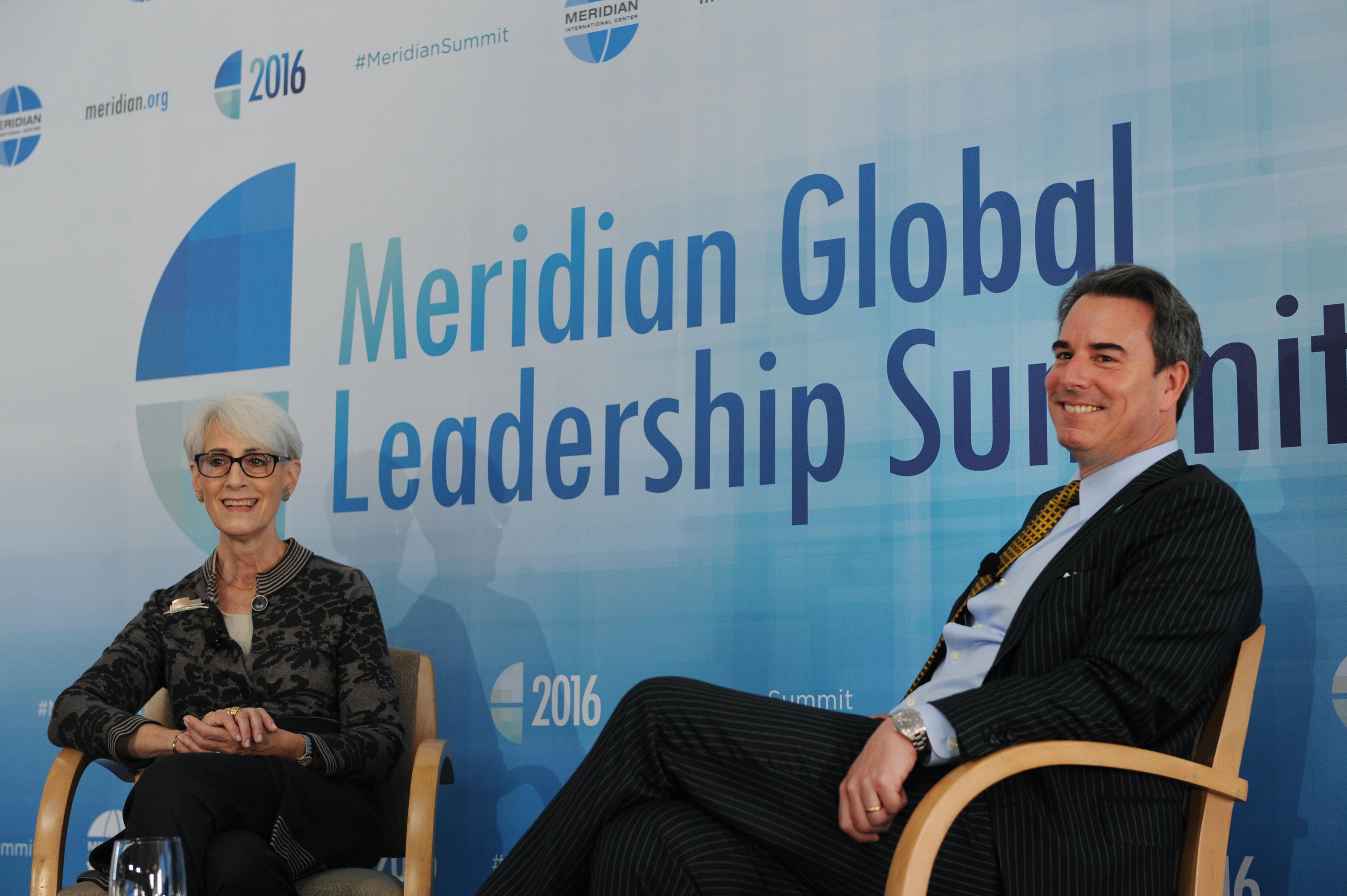 Ambassador Wendy Sherman, Senior Counselor, Albright Stonebridge Group and Ambassador Stuart Holliday, President and CEO, Meridian International Center