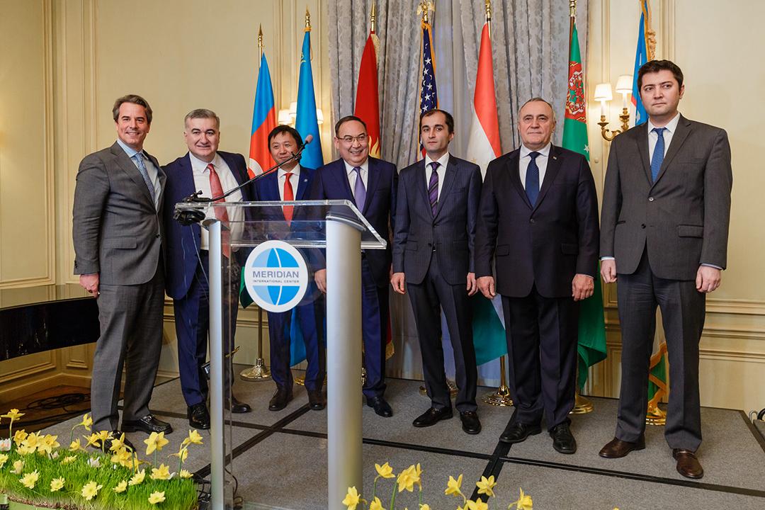 Meridian CEO and president Ambassador Holliday with Ambassadors and Deputy Heads of Mission to the U.S. from Embassies of Azerbaijan, Kazakhstan, Kyrgyzstan, Tajikistan, Turkmenistan, and Uzbekistan.