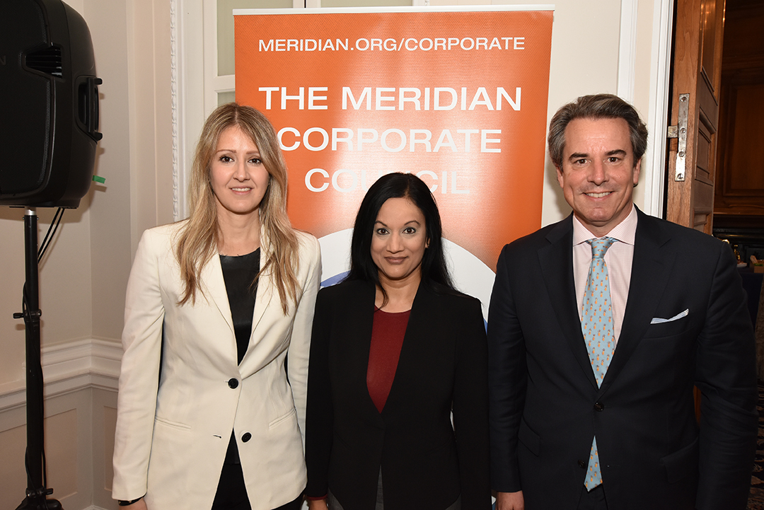 Left to right: Sahra English, Assistant Secretary Manisha Singh, Ambassador Stuart Holliday