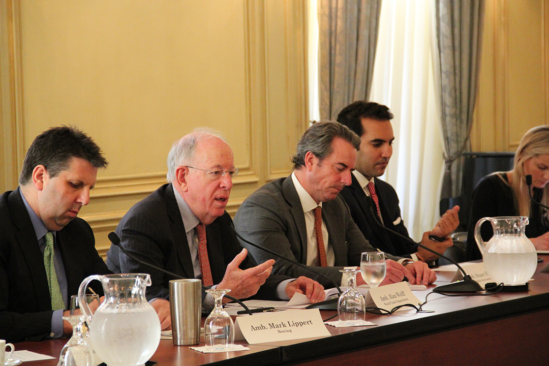 Amb. Alan Wolff, Deputy Director General of the World Trade Organization, leads a discussion on WTO economic integration and the U.S. approach to global trade policies
