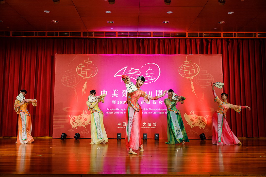 Artists perform a traditional Chinese fan dance to celebrate the Year of the Pig. Photo by Stephen Bobb Photography.