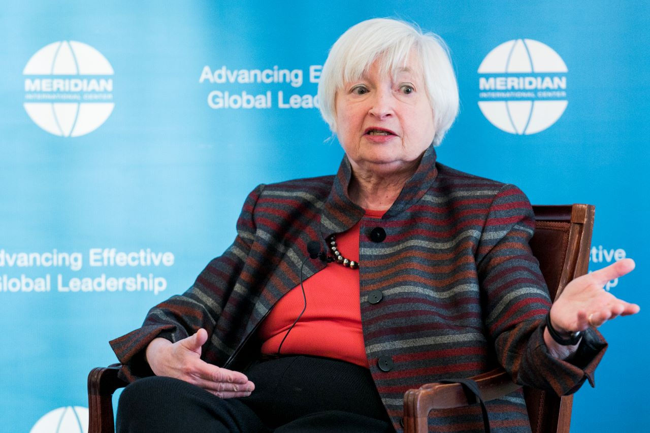 Dr. Janet Yellen during the discussion on economic growth and equal pay.