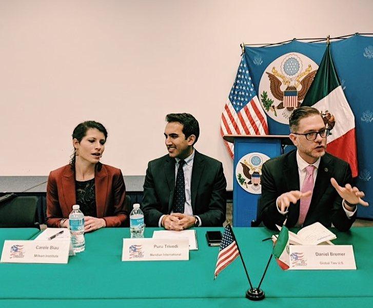 Carole Biau, Puru Trivedi and Daniel Bremer participating in U.S. — Mexico 360.