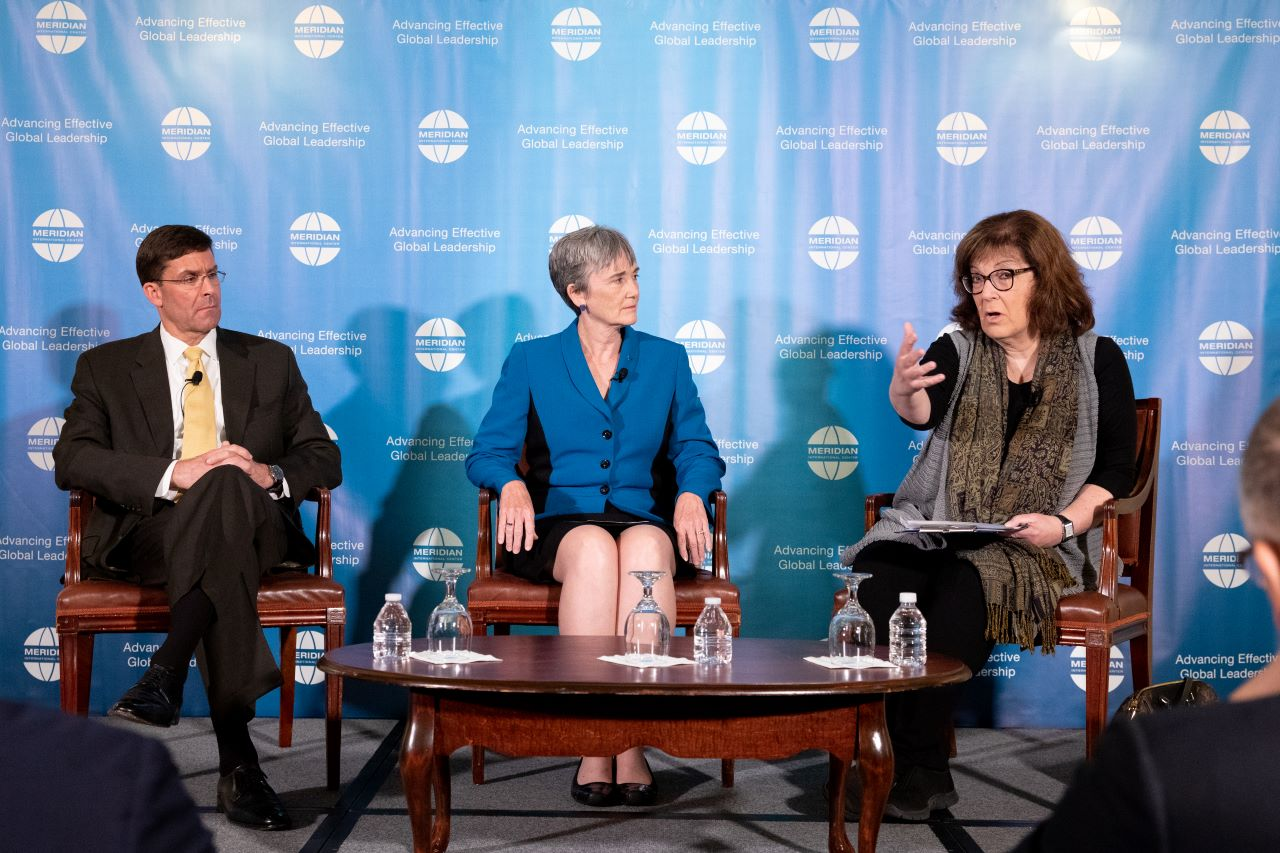 (Left to right): Secretary Mark Esper, Secretary Heather Wilson and Ms. Barbara Starr discuss modernization and priorities of the U.S. armed forces | Photo by Jessica Latos